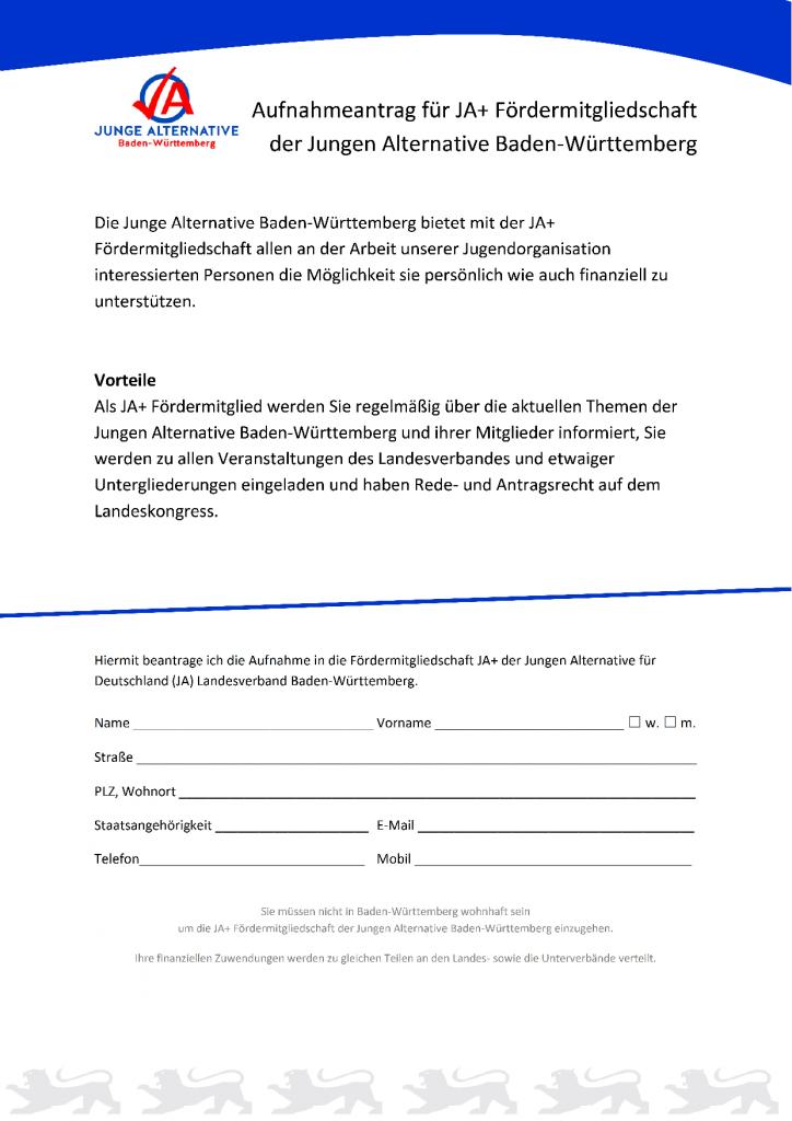 Aufnahmeantrag für JA+ Fördermitgliedschaft_22042015