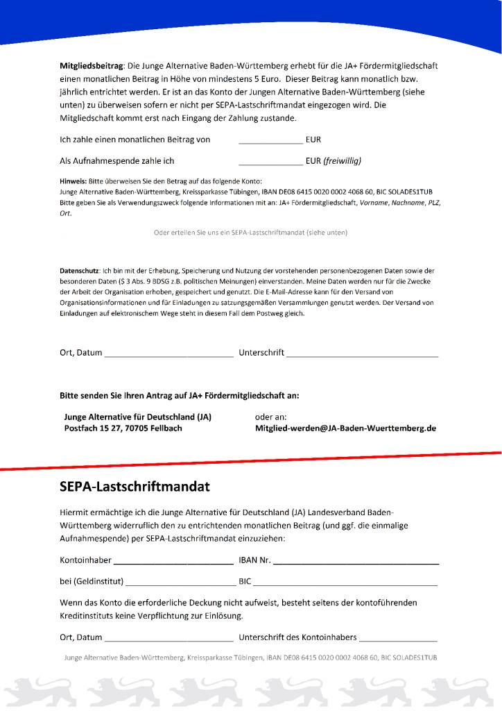 Aufnahmeantrag für JA+ Fördermitgliedschaft_220420152
